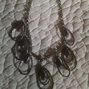 Purple tear drop beaded silver oval hoop necklace